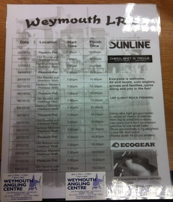 Weymouth LRF Dates